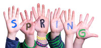 Children Hands Building Word Spring, Isolated Background