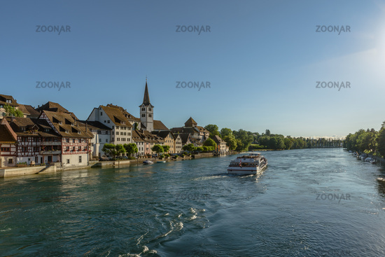 Passenger ship on the Rhine in front of the old town of Diessenhofen, Canton of Thurgau, Switzerland