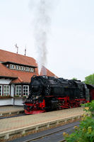 Locomotive and carriages of the Brockenbahn in Wernigerode
