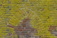 Brick wall with ancient window shape