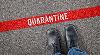 Red line on asphalt - Quarantine
