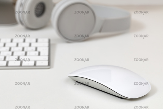 Keyboard and mouse on a white