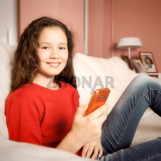 young girl mobile phone