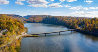 Aerial panorama of fall colors on Cheat Lake Morgantown, WV with bridge