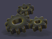 Three 3D gears made of yellow dots on gray background.