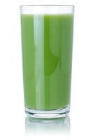 Kiwi green smoothie fruit juice drink kiwis in a glass isolated on white