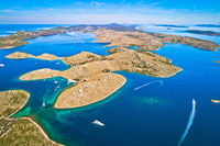 Kornati. Aerial panoramic view of famous Adriatic sea sailing destination