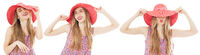 Set or collage of Portrait of elegant lady in hat on summer vacation on white