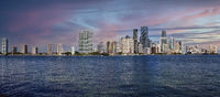 Sunset View of the city of Miami over the ocean