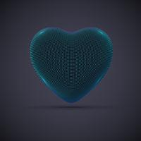 3D digital futuristic blue heart on gray background.