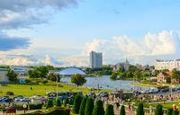 Skyline Minsk city people Belarus