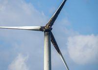 Burned damaged wind turbine