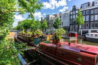 Houseboats in Amsterdam in summertime