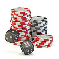 Gambling chips and two black dices 3D
