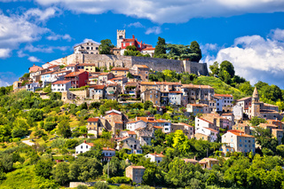 Motovun. Picturesque historic Town of Motovun on idyllic green hill