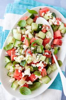 Frischer Salat mit Melone