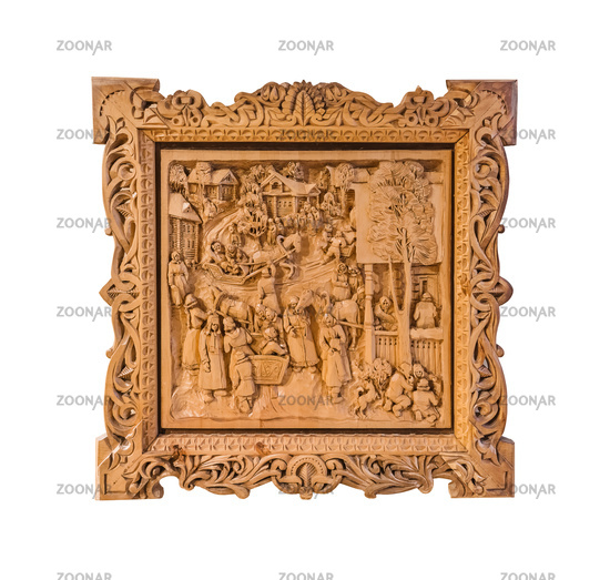 Sortavala, Russia - July 29, 2020: Pictures of Russian life carved from wood by the artist Kronid Gogolev in the museum