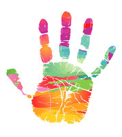 Colorful handprint - colorful vector illustration