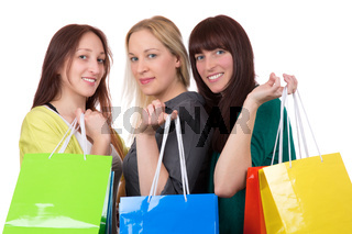 Gruppe junger Frauen hat Spaß beim Einkaufen
