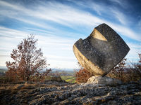 Cube stone rock at a park in burgenland