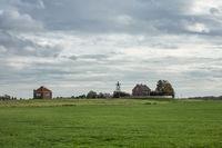 Houses former island Schokland in Dutch countryside of Noordoostpolder