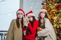 Three girls and a terrier posing for the camera on new year's eve