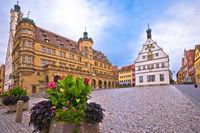 Rothenburg ob der Tauber. Main square (Marktplatz or Market square) of medieval German town of Rothenburg ob der Tauber.