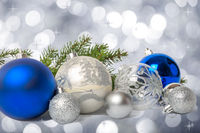Group of blue and silver Christmas balls