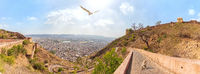 Nahargarh Fort and view on Jaipur, aerial panorama, India