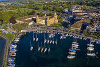 Morges Castle and marina at Lake Geneva, Morges, Vaud, Switzerland