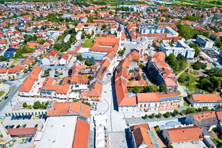 Town of Cakovec city center aerial view