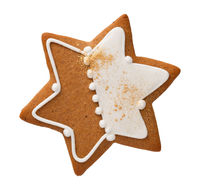 Gingerbread Star Cookie Isolated Over White Background