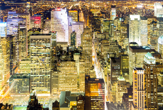 Aerial New York City night