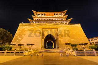 ancient weiyuan tower closeup at night