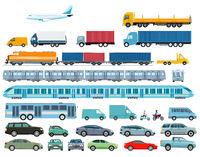 Cars, railroad, and heavy trucks illustration