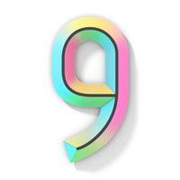 Neon color bright font Number 9 NINE 3D