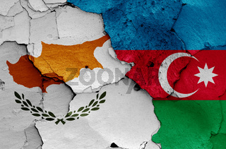 flags of Cyprus and Azerbaijan painted on cracked wall