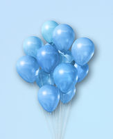 Cyan air balloons group on a light blue background