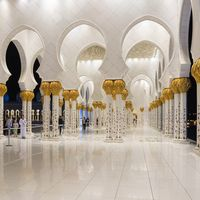 Columns of Sheikh Zayed Grand Mosque in Abu Dhabi, UAE
