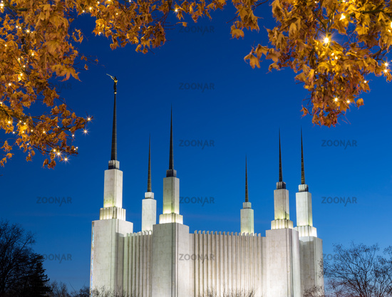 Mormon temple in Washington DC with xmas lights