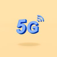 5G 3D Text on Yellow Background