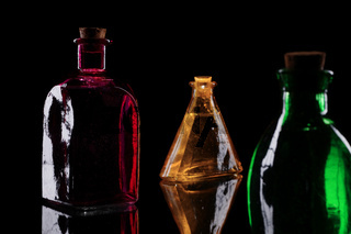 Red yellow and green bottles