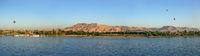 river Nil at Luxor with hot-air balloons