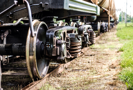 Closeup of the old rusty train wheels
