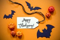 Label With Text Happy Thanksgiving, Halloween And Autumn Decoration