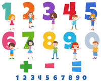 educational numbers set with happy children characters