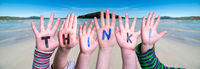 Children Hands Building Word Think, Ocean Background