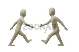 Two characters run to hands, 3D illustration