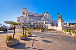 Rome. Piazza Venezia square in Rome and Altare della Patria view