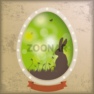 Vintage Background Egg Hole Rabbit